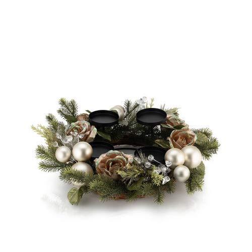 Online-Fuchs Adventskranz künstlich fertig dekoriert mit Kerzenhalter für Stumpenkerzen, Votivkerzen und Stabkerzen (Silber)
