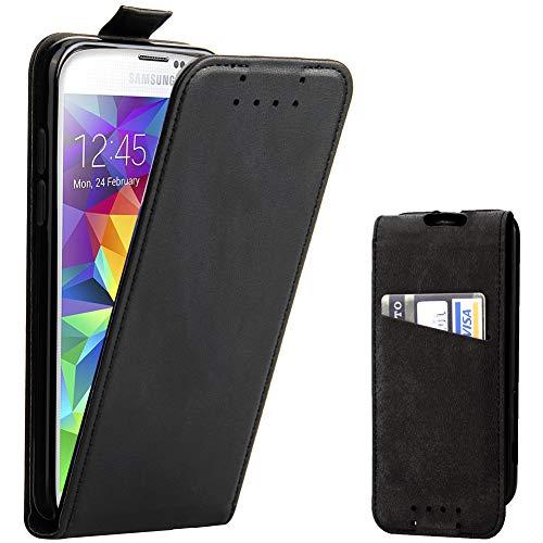 Galaxy S5 Hülle, Supad Leder Tasche für Samsung Galaxy S5 / S5 Neo Handyhülle Flip Case Schutzhülle (Schwarz)