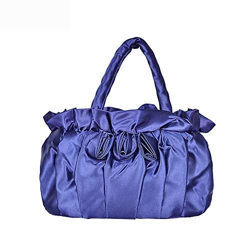 Ahlngel Plissee Little Satchel Lady Handtasche Handarbeit Stoff Handtasche Mode Abendtasche, blau