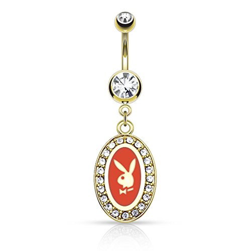 Coolbodyart piercing de nombril en acier chirurgical 14 carats rundrahmen rouge, noir, blanc, playboy bunny avec oxyde de zirconium rouge