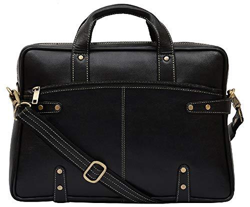 HiLEDER Leder Gothic Style 14,5 Zoll Business Aktentasche Laptop Messenger Office Bag für Männer und Frauen, schwarz