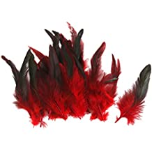 50pcs Plumas de Gallo Decoración para Disfraces Hogar Bricolaje 12-18cm (rojo)