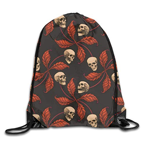 Drawstring Backpack Bags Vintage Halloween Cherry Skull Large Scale Collection Cherry Skull Rock 'n' Roll Old School Tattoo Sport Athletic Gym Sackpack for Men Women