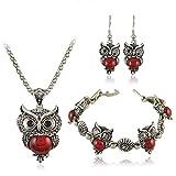 Buelgma Vintage Charme Hibou Pendentif Ensembles De Bijoux Bande Dessinée Collier Boucles Oreilles Bracelet Ensemble Cadeaux (Rouge)
