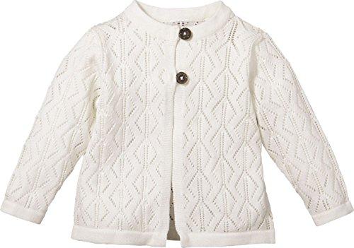 LUPILU® Baby Mädchen Strickjacke aus 100% Bio-Baumwolle (wollweiß Ajourstrick-Muster, Gr. 50/56)