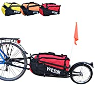 Polironeshop VECTOR Single wheel cargo bike trailer for cycling holidays luggage with bag (Red)