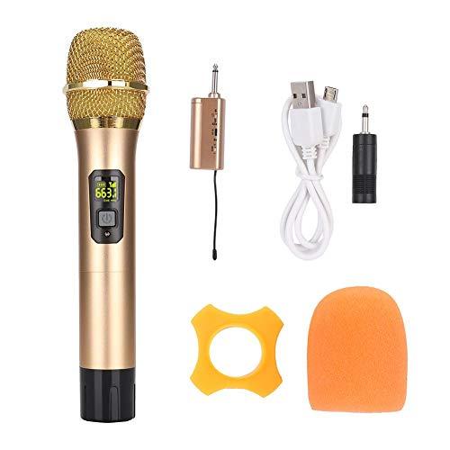 Pokerty Handheld-Mikrofon, 600-MHz-700-MHz UHF-Handheld-Funkmikrofon mit Mini-Empfänger Gold Hohe Aufnahmeempfindlichkeit 12-kanal-handheld-empfänger