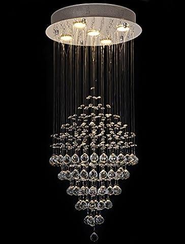 Modern Klare echte Kristall Deckenleuchte Regen Drop 5-Lichter Kronleuchter Licht