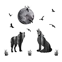 decalmile Wolf Wall Stickers Moon Birds Wall Decals Removable Wall Art for Kids Room Living Room Bedroom