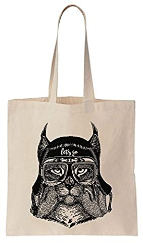 Let's Go Cool Lynx Aviator Cotton Canvas Tote Bag Baumwollsegeltuch-Einkaufstasche (Bobcat Lynx)