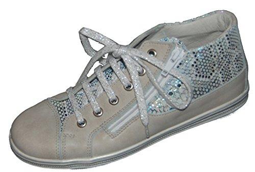 Däumling Kinderschuhe, halbhohe Schuhe, Sneaker, Lederschuhe beige mit Glitzer (Fortuna ghiaccio)