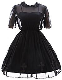 Kawaii-Story JL de 567 Stretch Negro gótico Punk visuel Kei Cruz Lolita Vestido Disfraz
