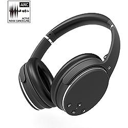 Auriculares Bluetooth AXCEED Active Cancelación de Ruido Estéreo ANC Inalámbrico Headphones Orejas Plegables Sobre el Oído Control Remoto con Micrófono Incorporado Cable Desmontable