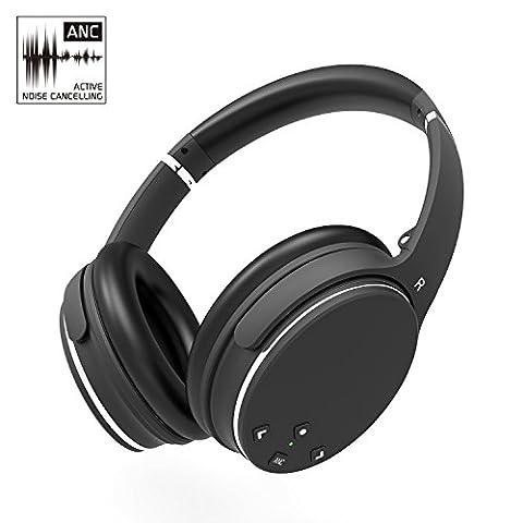 Bluetooth Casques Écouteurs AXCEED Active Noise Canceling ANC Stéréo Audio Supra-Auriculaires Repliables sans Fil Télécommande avec Microphone Câble Amovible
