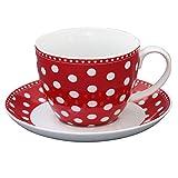 Krasilnikoff - Tasse mit Untertasse - rot - weiße Punkte - 420 ml