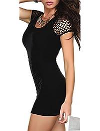 r-dessous sexy Minikleid schwarz Stretch Damen Mini Abend Kleid Clubwear Partykleid Long Shirt Cocktail Dress mit Waeschesack
