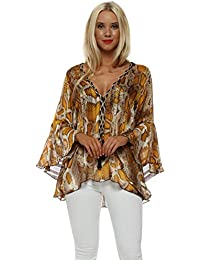 8976e7c1db330 My Story Amber Snakeskin Tunic Top