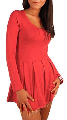 Damen Longshirt Minikleid Langarm mit Raffungen Gr. S M 36 38, 4521 Koralle