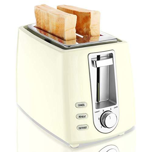 CUSIBOX Toaster, 2-Scheiben Toaster 750W mit 6 Bräunungsstufen Auftauen, Aufwärmen und Abbrechen Funktionen BPA frei - Creme