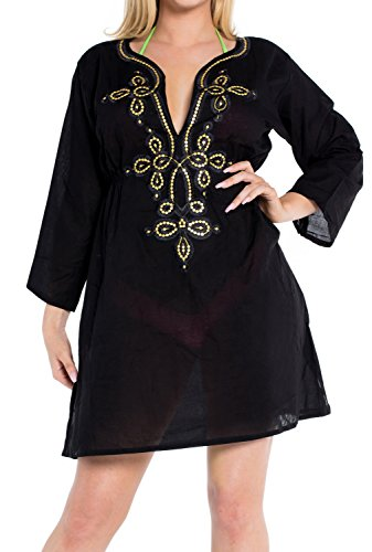 La Leela weiche Rayon Badeanzug Bikini-Vertuschung-Strand Badebekleidung Frauen kleiden Plus Gold-
