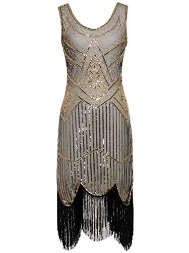 (FAIRY COUPLE 1920 Pailletten Perlen Quasten Falten Gatsby Flapper Kleid D20S001(XL,Dunkelbeige+Gold))