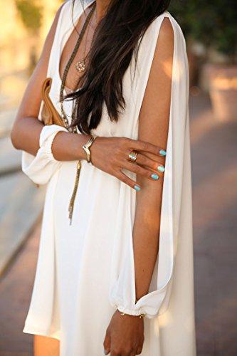 Junshan Robe été Femme Chemise Col V Mousseline Lâche Soie Loose A-robes Mode Dames Tunique Blouse Mini Blanc