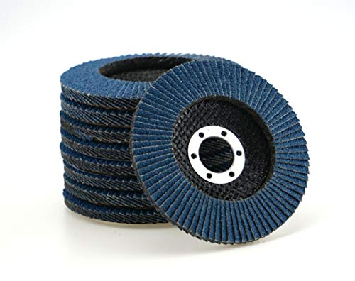 10 Stück Fächerscheiben - Ø 125 mm - Korn 40 - blau/INOX Fächerscheiben/Schleifmopteller/Fächerschleifscheibe