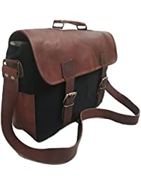 Vintage Handmade Leather Messenger Bag For Laptop Briefcase Best Computer Satchel School Distressed Canvas Bag