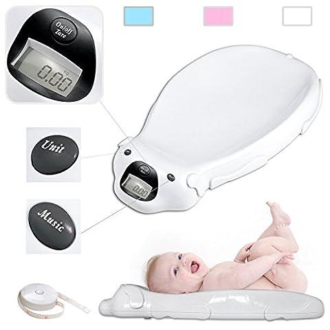 Babyfield - Pèse bébé électronique Blanc - Balance avec option musicale et mémoire intégrée