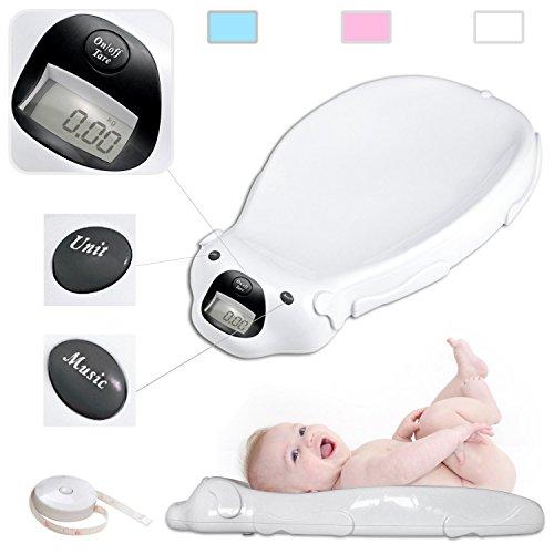 TodecoBabyfield - Báscula eléctrica para bebé con opción musical y memoria interna, color blanco