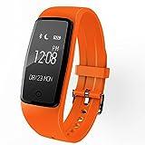 Fitness Tracker Armbanduhr, M2Smart Armband mit Herzfrequenz Blutdruckmessgerät Armbanduhr Schrittzähler mit Schritt Zähler/Kalorien/Schlaf Tracker Monitor/CALL Alert für iPhone und Android Smart Phone, Orange S1