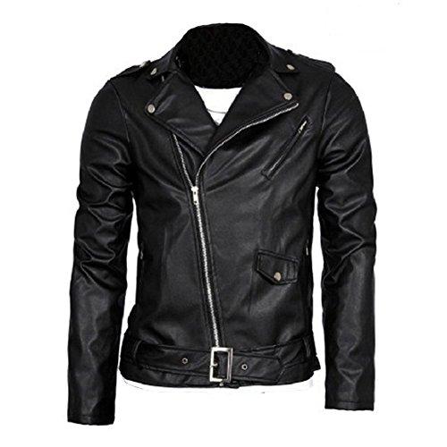 Homme Type Slim Veste à Cuir Style Motard en Fermeture Veste en Cuir PU Style Britannique Outerwear Noir M