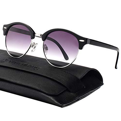 Vivienfang Ultralight Semi-Rimless Rund Wayfarer Sonnenbrille für Damen und Herren P2116C Black
