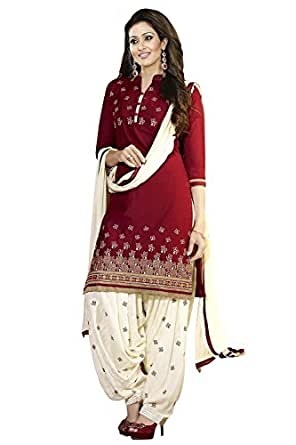 Shiroya Brothers Women's Ethnic Wear Poly Cotton Unstitched Regular Wear Salwar Suits Dress Material (SB_DM _5099_Red&Cream_Free Size)
