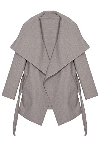 Kendindza Damen Mantel Trenchcoat mit Gürtel OneSize Lang und Kurz (OneSize, Hellgrau Kurz)