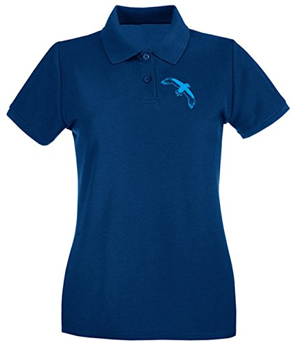 Cotton Island - Polo pour femme FUN1106 crow crows animal animals vinyl decal sticker 02 39925 Bleu Navy