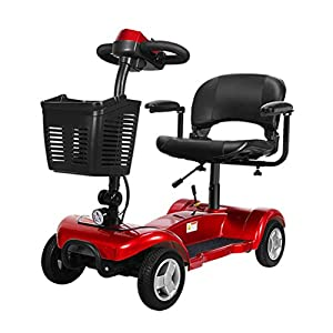 DOS Folding Mobility Scooter - 4 Wheel Electric Scooters for Adult, Portable Mobility Scooter for The Elderly, 300W 20AH Endurance 25 km, Red