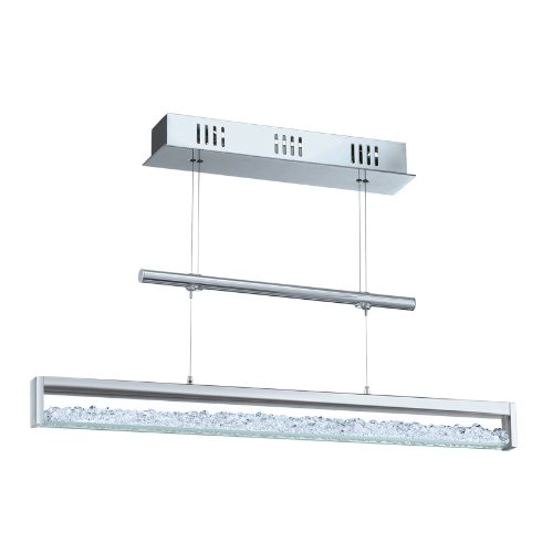Eglo Modelo Cardito 90928 - Lámpara colgante LED (de aluminio y acero cromados y cristal, 1 x 24,96 WE, 156 LED, 510 lm, incluye bombillas, 70 x 110 cm, regulable en altura)