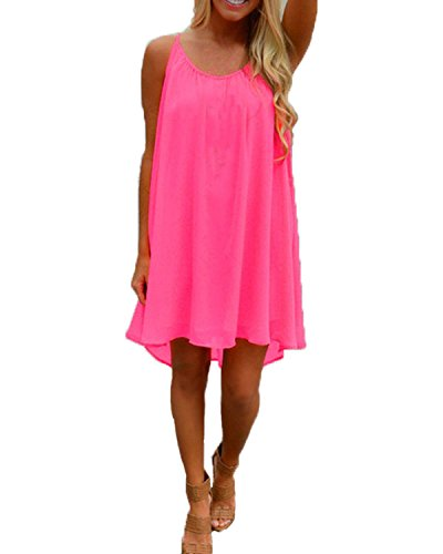ZANZEA Femme Sexy Casual Plage Mousseline Boho Dos Nu Strap Robe Rose