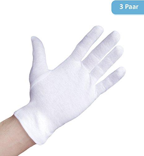 Well B4 Care Baumwollhandschuhe 3 Paar, Größe L | Medizinische Stoffhandschuhe aus 100% Baumwolle | Weiche Trikothandschuhe für Neurodermitis und Ekzeme | Weiße Zwirnhandschuhe zum Schutz der Hände (Tragen Halloween Kostüm Für Männer)