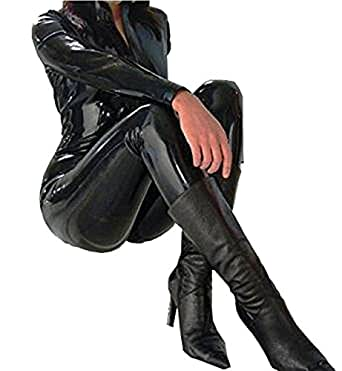 forever young damen catwoman kost m pvc catsuit schwarz gr e 34 bekleidung. Black Bedroom Furniture Sets. Home Design Ideas