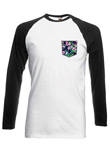 Floral Rose Pattern in Pocket Novelty Black/White Men Women Damen Herren Langarm Unisex Baseball T Shirt Verschiedene Farben *Schwarz