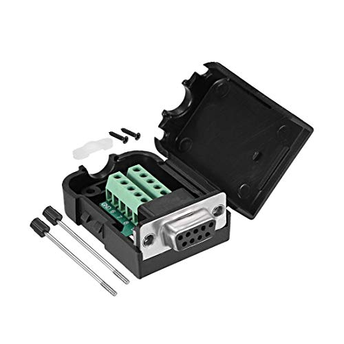 ZCHXD D-sub DB9 Breakout Board Connector with Case 9 Pin 2 Row Female RS232 Serial Port Solderless Terminal Block Adapter with Thumb Screws -