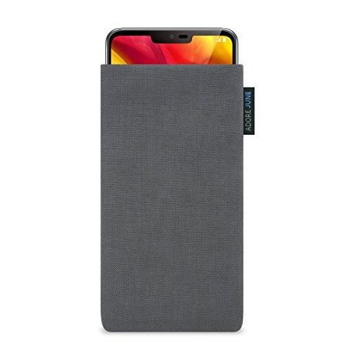 Adore June Classic Dunkelgrau Tasche für LG G7 ThinQ und LG G7 One Handytasche aus widerstandsfähigem Cordura Stoff | Robustes Zubehör mit Display Reinigungs-Effekt | Made in Europe