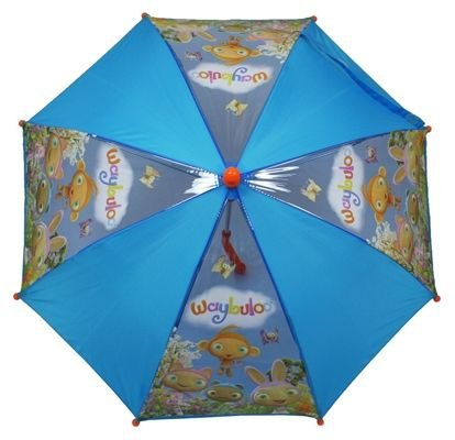 Waybuloo Umbrella,character Pictures And Plain Blue Panels, Red Handle