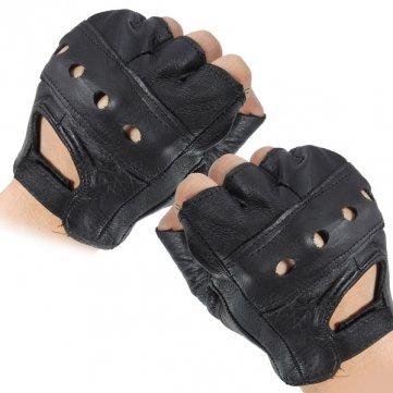 Motorrad Leder Handschuhe, fingerlos, belüftet, Rindleder, vielseitig einsetzbar (Leder Damen Belüftet)