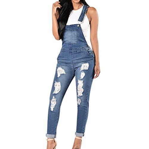 Dihope Women's Ripped Slim Fit Denim Dungaree Jumpsuit (L, Denim Blue)
