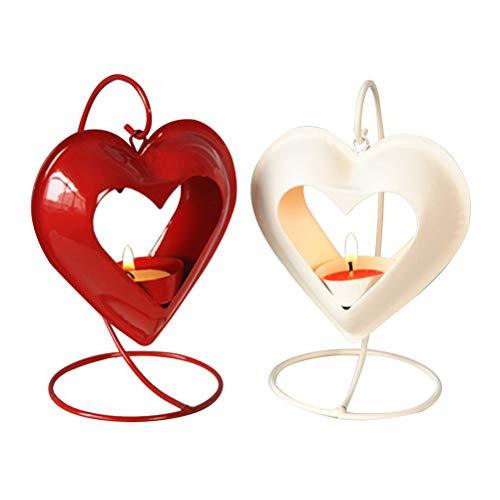 Uonlytech 2 STÜCKE Eisen Kunst Kerzenhalter Liebe Form Liebe Form Wind Lampe Kerzenhalter Candle Stick Dekorationen Lieferungen für Hochzeit (Weiß + Rot Keine Kerzen)