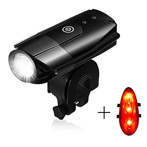 Lukasa LED Fahrradlicht Set, Wasserdicht LED Fahrradlampe, USB Wiederaufladbare LED Fahrradbeleuchtung mit 3 Licht-Modus für Radfahren und Camping