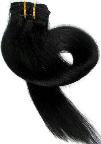 Clip en extensions de cheveux humains XXL de 60 cm Longueur de cheveux – 8 bicolore dégradé, Couleur : Noir